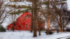 Tucked Away (Justin Loyd Photography) Tags: iowa barn classic snow red winter march monday rural country scenic farm barnyard trees canon eos 6d 24105l light flickr photography photo colorful