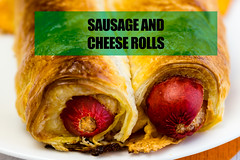Sausage and cheese rolls (garydlum) Tags: belconnen sausageroll sausage canberra cheese puffpastry