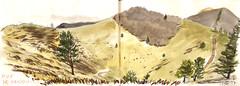 170319 Chaîne des Puys (Vincent Desplanche) Tags: sketch sketchbook urbansketchers seawhiteofbrighton carandache neocolor auvergne croquis watercolor aquarelle mountain montagne volcans puydedôme chainedespuys