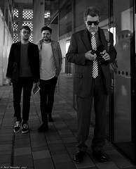 Is fashion ageist ? (Neil. Moralee) Tags: londonneilmoralee man boy youth canera old mature young fashion style sony tie black white mono monochrome blackandwhite bandw bw neil moralee nikon d7100 18300mm zoom glasses sun sunnies standing london tate modern tower dignified liverspots