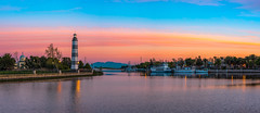 Suisun City Harbor (ben_leash (Back May 15th)) Tags: blue suisuncity sacramentodelta northerncalifornia solano sunset landscape panorama panoramic voigtlander 58mm mtdiablo mountdiablo sanfranciscobay boats riverboats lighthouse