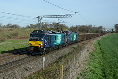 88002 and 68025 Daresbury 03/04/2017 (Brad Joyce 37) Tags: 88002 68025 class88 class68 6z88 drs daresbury testrun train electric diesel new doubleheader sunshine bluesky westcoastmainline wcml nukon d7100