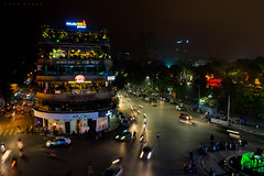 winter in ha noi, viet nam (Tina Grdić) Tags: hanoi vietnam asia indochina night skycrapers buildings red redbridge lake people traffic cars trails light exposure sonyalpha7ii minoltawidelens minolta travel mist mistic beautiful life magic vibrant movement road city oldquarter oldstreets foggy rain evening asian culture winter atmosphere