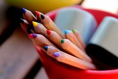 sharpened (overthemoon) Tags: utata ironphotographer 96 utata:project=ip96 pencils crayons watercolours sharpener redbowl greenbowl table diagonals outside sunlight colourful sharp