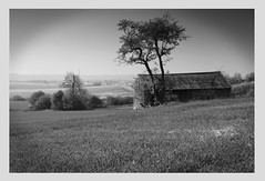 old barn (nick townsley) Tags: elements blackandwhite old barn canon landscape fields