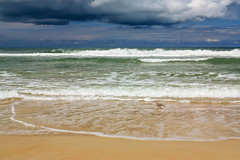 Unsettled Beach Day (Flagler Beach, Florida) (peterwaller) Tags: flaglerbeach florida usa america beach atlantic ocean storm wave bird cloud