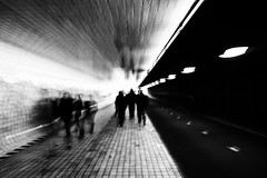 Shapes and silhouettes @ Amsterdam (PaulHoo) Tags: amsterdam holland city urban netherlands 2017 fineart tunnel focuszoom bw abstract movement blackandwhite monochrome people diagonal shape silhouette nikon d700