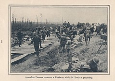 Australian Pioneers construct a roadway while the battle is proceeding - WW1 (Aussie~mobs) Tags: ww1 australia army military aif anzac 1917 soldier pioneerregiment australianpioneers roadconstruction