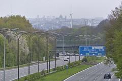 Bruxelles vue depuis le pont de l'autoroute à Hal