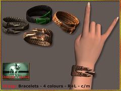 Bliensen - Grasp - Bracelets (Plurabelle Laszlo of Bliensen + MaiTai) Tags: bracelet underworld genre jewelry fantasyjewelry goth gothic warrior gorean gor viking mensjewelry sl secondlife bliensen mesh