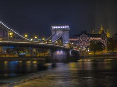 Budapest Chain Bridge (Wizard CG) Tags: budapest chain bridge hungary long exposure hdr skyline road sky architecture city epl7 ngc world trekker water night outdoor river olympus