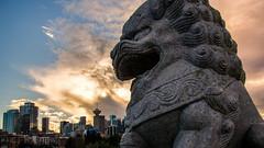 Chinese Guardian Lion (Sworldguy) Tags: vancouver chineseguardianlions sculpture stone statue skyline sunset crabpark publicart skyscape tourism nikon d7000 dslr downtown harbour