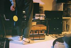 my babe playing music for us (nerve jamming) Tags: nikkormat ft ftn 35mm analog film grain fuzz nikon kodak fujifilm 400iso focus moody vinyl music