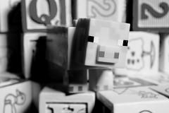 Minecraft Pig (MuTant 99) Tags: home toys minecraft pig wooden blocks bw olympusomdm10mkii olympusviewer3 olympusartfilter diorama