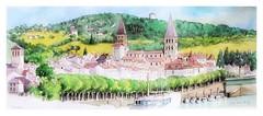 Tournus - Bourgogne - France (guymoll) Tags: tournus croquis sketch watercolour watercolor aquarelle ville fleuve bateaux boats saone bourgogne