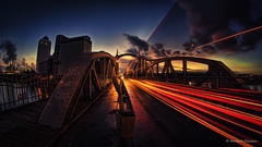 Time journey (Norbert Clausen) Tags: thebluehour sunset sonnenuntergang traces trails longexposure jugendstil brücke