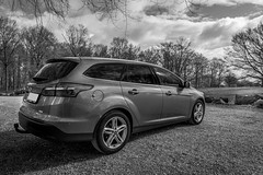 Ford Focus Stc. 2016 (Casper-Larsen) Tags: sigma24mmf14dghsmart kenko polarizer canon 6d ford focus stc polfilter bw blackandwhite sky forest 24mm sigma art