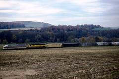 NRHS E8 808 NYSW C430 3008 Oct1991c (ironmike9) Tags: track rail rr railroad railway freight train e8a c430 alco locomotive nrhs dlw delawarelackawannawestern nysw newyorksusquehannawestern