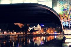 Under the bridge (No_Mosquito) Tags: vienna austria city night bridge river canal donaukanal urban centre lights graffiti canon powershot g7x mark ii