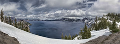 Crater Lake, Oregon (Trudy -) Tags: sky lake snow cold water beautiful clouds oregon pano panoramic craterlake