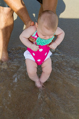 (lindilindi) Tags: ocean baby cute beach water girl sand infant liliana swimsuit bathingsuit modelreleased