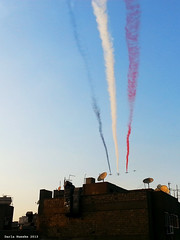 Egypt Air Force Display Flag (Sierragoddess) Tags: city flag military jets egypt trails cairo revolution egyptian planes rebellion contrails skywriting tahrir frommybalcony 2013