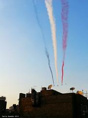 Egypt Air Force Display Flag (Sierragoddess) Tags: city flag military jets egypt trails cairo revolution egyptian planes rebellion contrails skywriting tahrir frommybalcony 2013