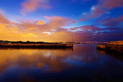 dusk at bray harbour (Sigita JP) Tags: camera longexposure blue ireland sunset sea summer sky dublin seascape colour water beauty night clouds canon landscape evening amazing long exposure view nightscape darkness nightshot photos dusk ngc wicklow 2470mm