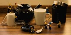 Tea time (Traceyj26) Tags: cup kitchen kids toys lego tea spoon drinks teapot teabag minifigure