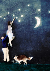 Save the Date (silent7seven) Tags: wedding dog moon stars chalk asphalt