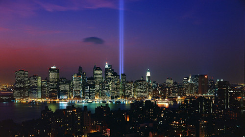 """Tribute in Light"",9/11 memorial display,NYC harbor"