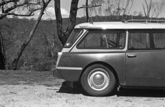 My car - Dargan, NSW. (frontdrive34) Tags: bw 35mm diy pentax iso400 150 rodinal 50mmf14 selfdeveloped supertakumar pentaxspotmaticf luckyfilm pentaxspotmatic