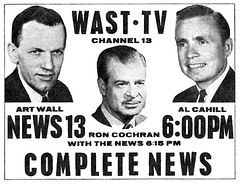 wast channel 13 TV television  news 1964 albany ny 1960s (albany group archive) Tags: albany ny wast tv 13 news art wall al cahill ron cochran 1964 channel television 1960s oldalbany history old vintage photo photograph photos historical historic