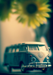Flower power (Rob Clowes) Tags: flowers vw canon toy 50mm prime crossprocess sunflowers sunflower camper campervan f12 canon50mm vwcamper canon7d