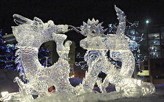 Chinese Dragon (J.P. EVERETT) Tags: park winter light sculpture snow art ice alaska square lights town frozen dragon chinese ak anchorage icy