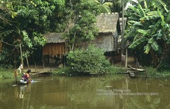 Siem Reap, life along the river (blauepics) Tags: life house water landscape cambodia kambodscha wasser dorf village haus 1993 si