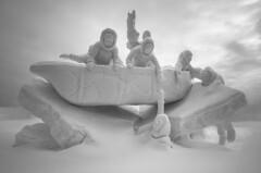 """Talirunili's Migration"" (Patrice StG) Tags: winter blackandwhite bw sculpture snow noiretblanc hiver gimp competition nb international qubec carnaval neige concours 2014 tonemapping mantiuk luminancehdr"
