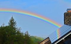 Solar Rainbow greeting me as I awoke on my birthday (jurvetson) Tags: birthday reflection solar rainbow panels residential pv