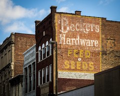 Beckers (Thomas James Caldwell) Tags: urban west building brick sign wall virginia hardware beckers painted seed wv feed wheeling 2013