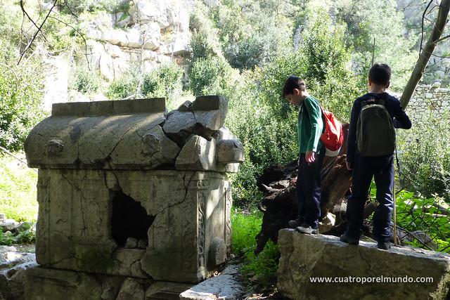 Examinando un sarcofago como profesionales