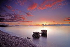 Where the water meets the land (RF-Edin) Tags: sunset clouds nikon edinburgh day cloudy pipe prestonpans leefilters