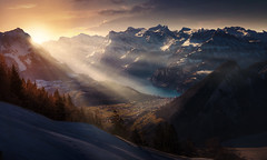 morning phase (Chrisnaton) Tags: sattelhochstuckli switzerland mountains lake alps landscape winter winterpanorama morningsun morningmood