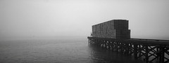 Along the Waterfront, Astoria, Oregon (austin granger) Tags: waterfront astoria oregon columbiariver pallets pier fog morning stacks film xpan