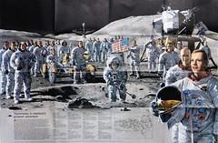 """The Apollo Astronauts"" by Pierre Mion. Supplement to National Geographic Vol. 144, No. 3 (September 1973). (lhboudreau) Tags: magazine magazines september1973 1973 nationalgeographic nationalgeographicmagazine commemorative commemorating astronaut astronauts nasa apollo spaceprogram usspaceprogram americanspaceprogram magazineart moon moonscape spacesuits spacesuit moonwalker moonwalkers volume144number3 vintagemagazine vintagemagazines apolloastronauts apolloastronaut theapolloastronauts mion pierremion supplement poster spaceart lunarlandscape moonlike teamwork lem lunarmodule apolloprogram flag americanflag teammates"