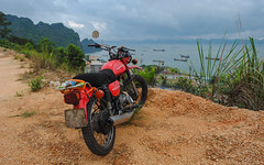 M1NSK at Ha Long Bay, Vietnam (free3yourmind) Tags: minsk m1nsk motorbike motorcycle overlooking halong bay vietnam clouds cloudy day travel explore adventure road trip