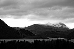 Ullswater (will668) Tags: ullswater cumbria lakedistrict mountains snowcappedmountains trees tree green nature evergreens lake water landscape woods forest bw blackandwhite monochrome