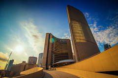 Toronto's City Hall (A Great Capture) Tags: ig 10mm new bluesky architecture nathanphillipssquare cityhall toronto agreatcapture agc wwwagreatcapturecom adjm ash2276 ashleylduffus ald mobilejay jamesmitchell on ontario canada canadian photographer northamerica torontoexplore spring springtime printemps 2017 city downtown lights urban light sun sunny sunshine cityscape urbanscape eos digital dslr lens canon 70d skyline towers tower sky himmel outdoor outdoors architektur arquitectura design