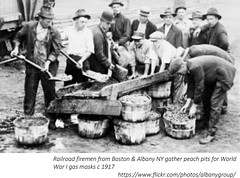 Railroad firemen from albany NY and Boston gather peach pits for gas masks  world war I   circa 1917 (albany group archive) Tags: early 1900s