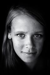 portrait (Peter du Gardijn) Tags: portrait blackwhite face closeup grain nikond600 girl blond 85mm nikkor85mm18