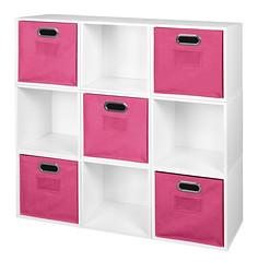 PC9PKWH_HTOTEPK (RegencyOfficeFurniture) Tags: niche regency cubo cubestorage modularstorage modular connecting connectable adaptable custom customizable cube square storageset closet organizer organization furniture cubes expandable home melamine laminate woodtone white whitewoodgrain pc9pk pc1211wh pink magenta hotpink pinkstorage pinkbins pinktotes htotepk